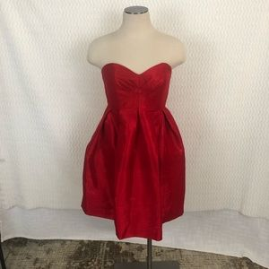 Mikael Aghal Red Pleated Mini Dress Sz 4